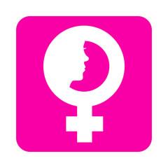 Icono plano simbolo femenino con cara de mujer en cuadrado rosa