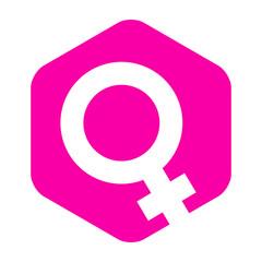 Icono plano simbolo femenino en hexagono rosa