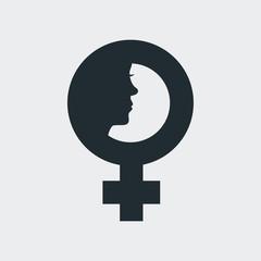 Icono plano simbolo femenino con cara de mujer en fondo gris