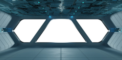 Spaceship futuristic grey blue interior window view
