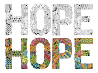 Word HOPE zentangle for coloring. Vector decorative object