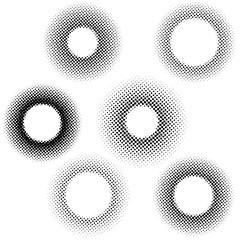 Vintage dotted halftone circle pattern collection