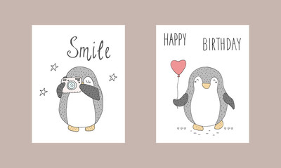 Cute hand drawn card with penguins. Printable templates