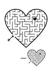 Valentine's Day, wedding, romantic, etc., themed heart shaped maze or labyrinth game. Suitable both for kids and adults. Answer included.