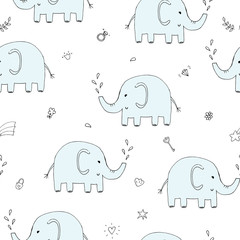 Cute seamless pattern with funny elephant. vector illustration