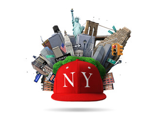 New York collage with the sights and red cap