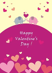 Happy Valentine's Day, elephants and hearts, postcards, vector icons