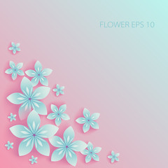 Vector blue Paper flowers on pink background
