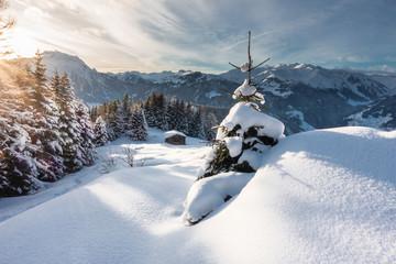Winterlandschaft mit Schihütte