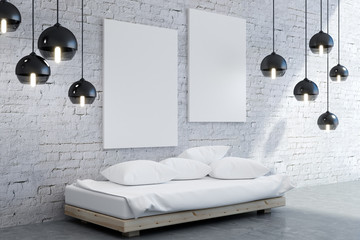 Modern bedroom interior with poster