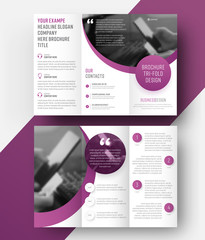 Template vector tri-fold brochure with a place for photo, semicircular and round elements.