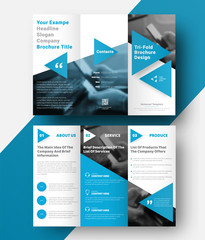 vector tri-fold brochure with a place for photos, diagonal elements and blue triangles for headings and quotes