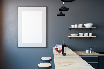 Modern kitchen with empty banner