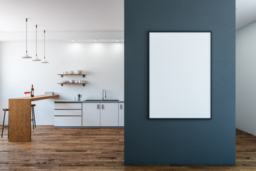 Modern kitchen with empty poster