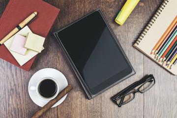 Modern desktop with empty tablet