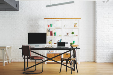 Corporate loft interior with workplace