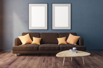Modern living room with empty banner