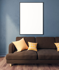 Modern living room with empty billboard