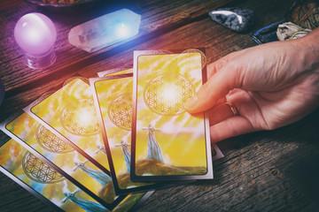 Tarot cards on a board