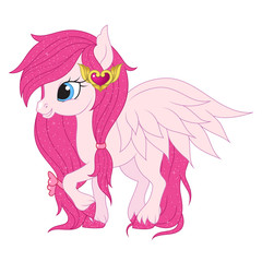 Pink pegasus illustration.