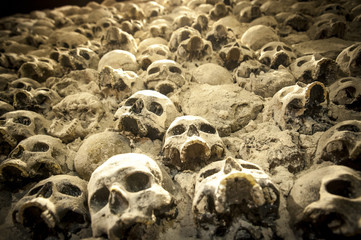 wall of skulls in church ossuary