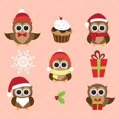 Christmas and New Year's owls in funny costumes