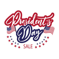 Happy President's Day Sale emblem with anerican flag