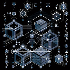 Architectural blueprint, vector digital background with different geometric design elements. For use as website background.