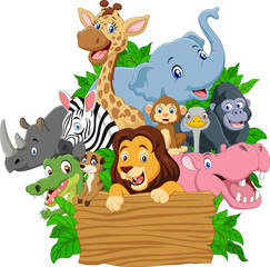 Cartoon wild animal with blank signboard