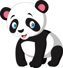 Cartoon cute panda isolated on white background