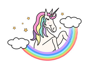 Vector cute illustration with unicorn and rainbow. Hand drawn doodle