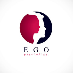 Psychology vector logo created with woman head profile and little child girl inside, inner child concept, origin of human individuality and psychic problems. Psychotherapy and psychoanalysis concept.
