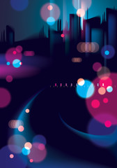 Blurred street lights, urban abstract background. Effect vector beautiful background. Big city nightlife. Blur colorful dark background with cityscape, buildings silhouettes skyline.
