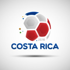Abstract soccer ball with Costa Rican national flag colors