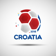Abstract soccer ball with Croatian national flag colors