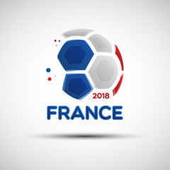 Abstract soccer ball with French national flag colors
