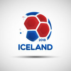 Abstract soccer ball with Icelandic national flag colors