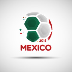 Abstract soccer ball with Mexican national flag colors