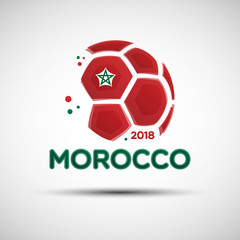 Abstract soccer ball with Moroccan national flag colors