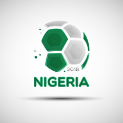 Abstract soccer ball with Nigerian national flag colors