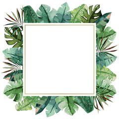 Watercolor frame with tropical palm leaves. Vector illustration
