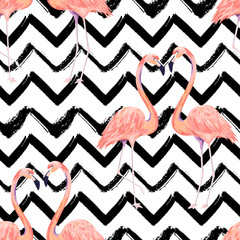 Abstract seamless pattern with exotic flamingo on striped chevron background. Summer decoration print. Vector illustration