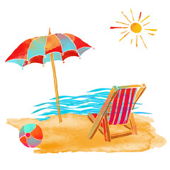 Watercolor summer beach set