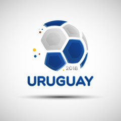 Abstract soccer ball with Uruguayan national flag colors