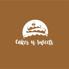 minimal logo of cake vector illustration