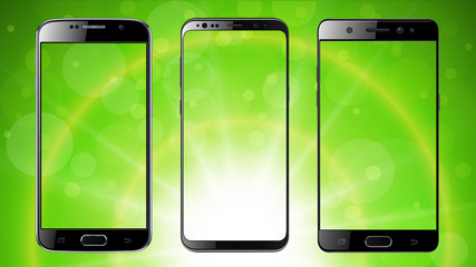 Smartphones, mobile phones isolated on green sunny background, set of vector mockups.