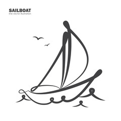 Isolated sailboat on white background. Line design.