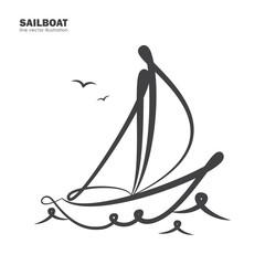 Isolated sailboat on white background. Line design.