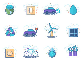 Environment icon series in flat color style. Vector illustration.