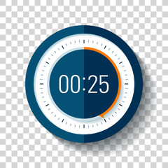 Stopwatch icon in flat style, timer on on transparent background. Sport clock. Vector design element for you project